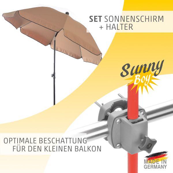 Komplett-Set aus Sonnenschirm mit Sonnenschirmhalter Sunnyboy